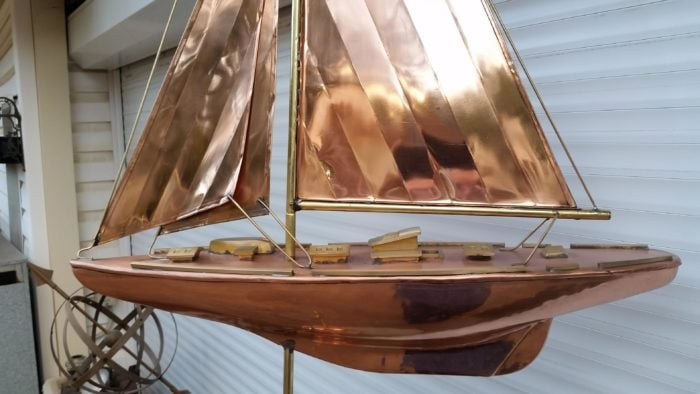 0 6 700x394 - Large Polished Copper Sailboat