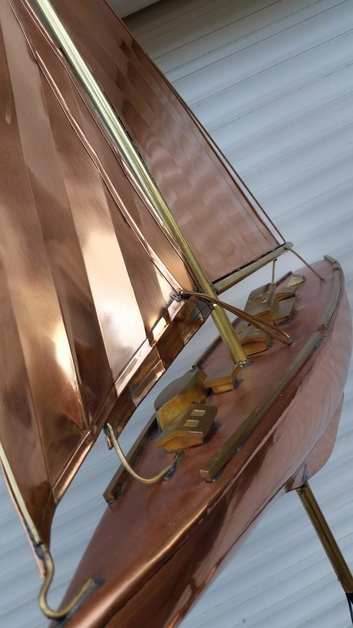 0 7 700x1245 - Large Polished Copper Sailboat
