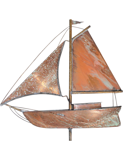 Pirate ship X 1 - Pirate Ship Weathervane Polished Copper