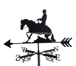 Quarterhorse x - Quarter Horse And Rider Weathervane