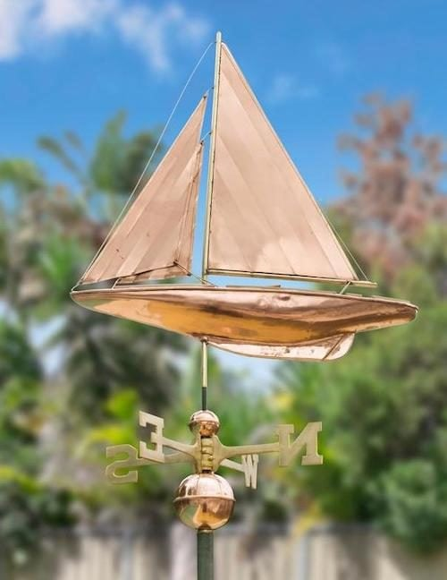 Sail boat 6 500x648 - Large Polished Copper Sailboat