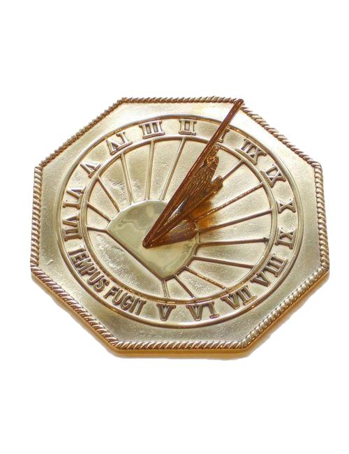 Octaganol Polished Time Flies Sun Dial - Octagonal Polished Brass Sundial
