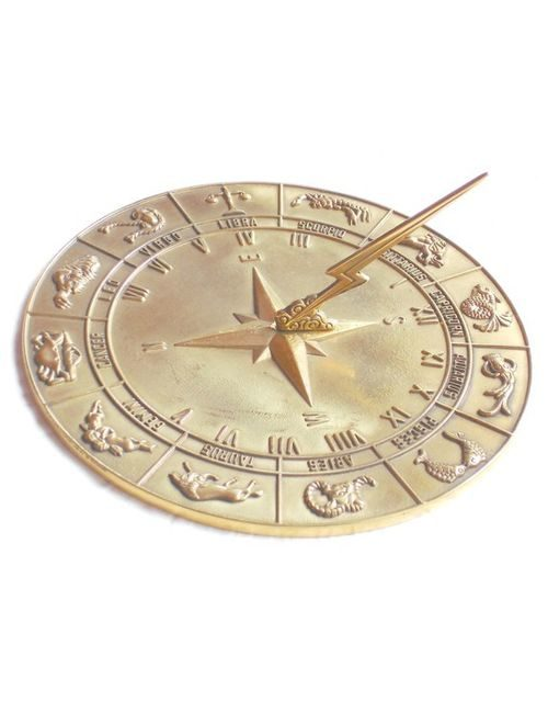 Zodiac Polished Sun Dial 1 500x650 - Zodiac Sun Dial Polished Brass