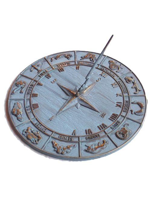 Zodiac antiqued Sun Dial 2 500x650 - Zodiac Sun Dial Antiqued