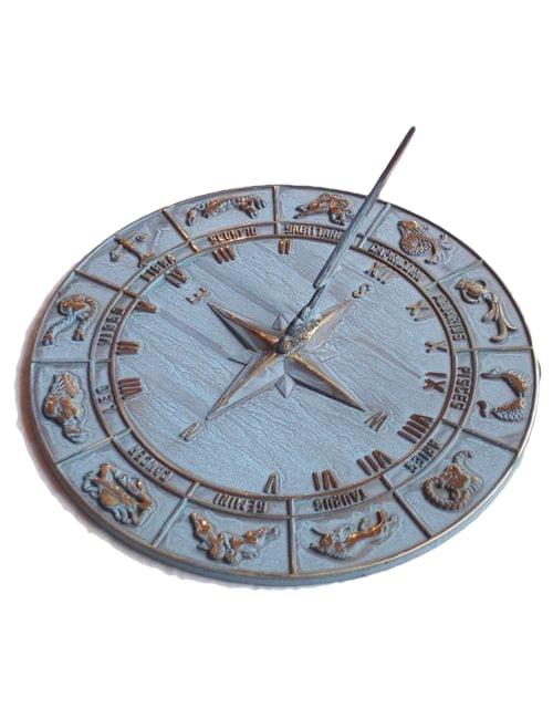 Zodiac antiqued Sun Dial 2 - Zodiac Sun Dial Antiqued