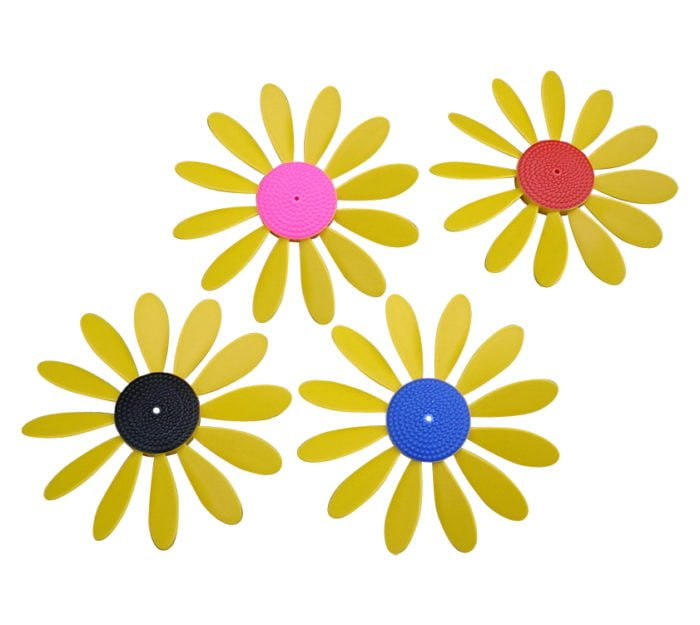 Spinning Happy Daisy Yellow with -Pink - Black -Blue - Red