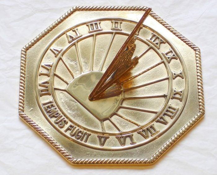 Octagonal Tempus Fugit Polished 700x565 - Octagonal Tempus Fugit pre aged  Brass Sun Dial
