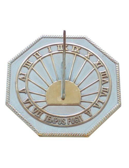 Octagonal Tempus Fugit verdi 1 500x650 - Octagonal Tempus Fugit pre aged  Brass Sun Dial