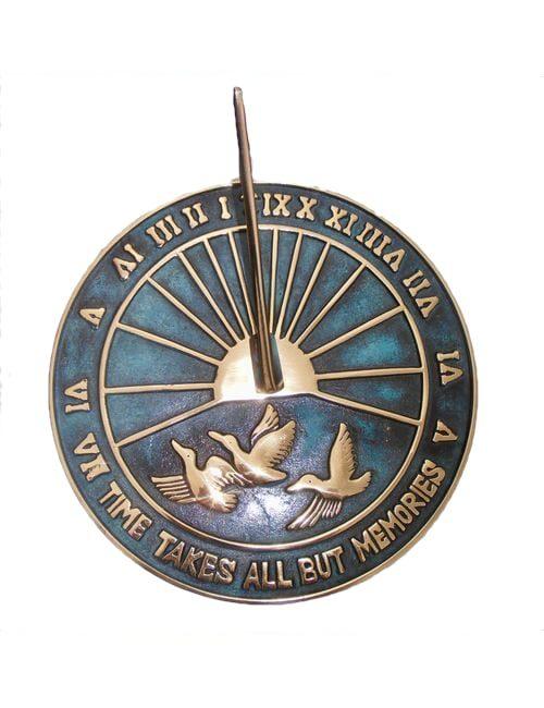 Antiqued Brass Sun Dial 500x650 - Geese Sun Dial Antiqued