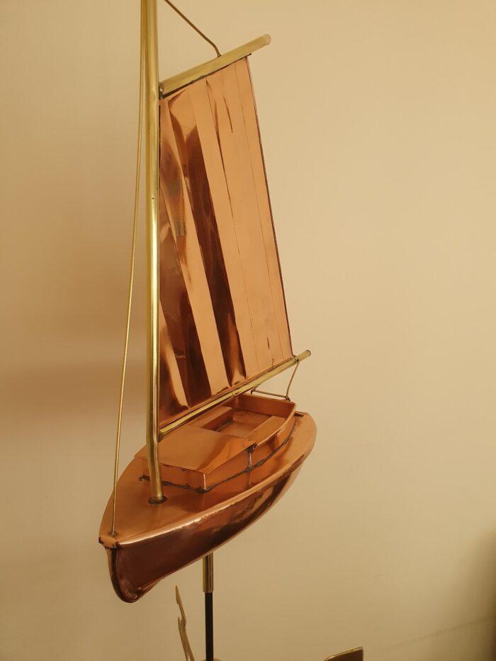 Catboat 1 700x933 - Catboat Weathervane Polished Copper